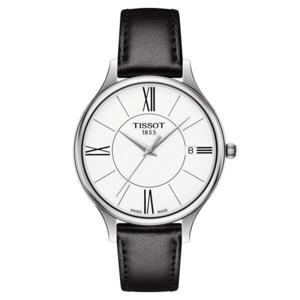 TISSOT Montre Tissot T-Lady Bella Ora Round quartz cadran blanc chiffres romains bracelet cuir noir 38 mm
