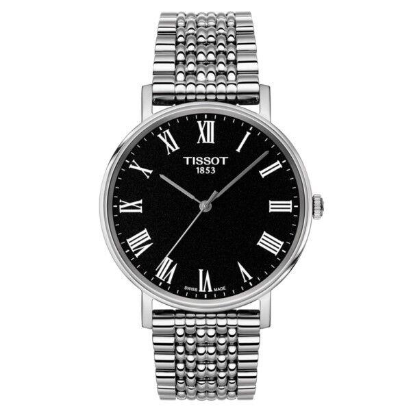 TISSOT Montre Tissot T-Classic Everytime Gent quartz cadran noir chiffres romains bracelet acier 38 mm
