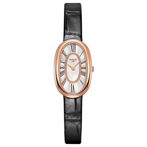 LONGINES Montre Longines Symphonette quartz cadran nacre chiffres romains bracelet cuir noir