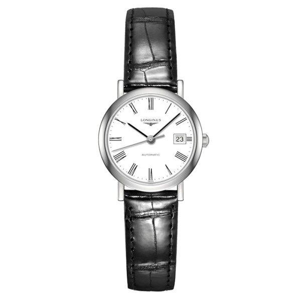 LONGINES Montre Longines Elegant Collection automatique chiffres romains bracelet cuir noir 25,5 mm