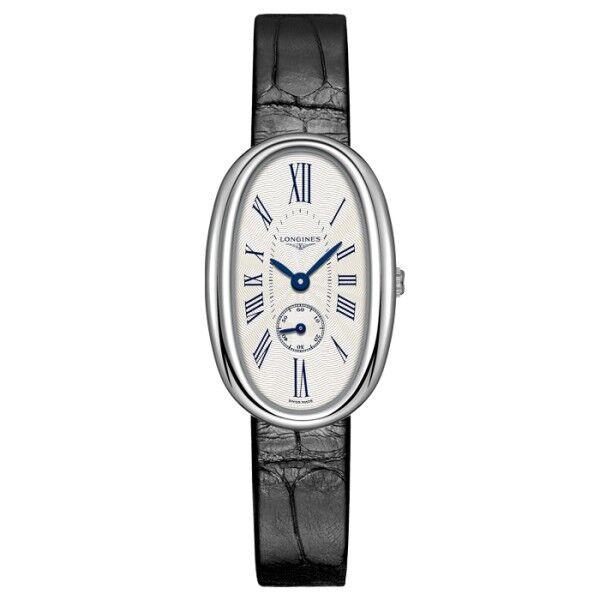 LONGINES Montre Longines Symphonette quartz cadran argenté chiffres romains bleuis bracelet croco noir