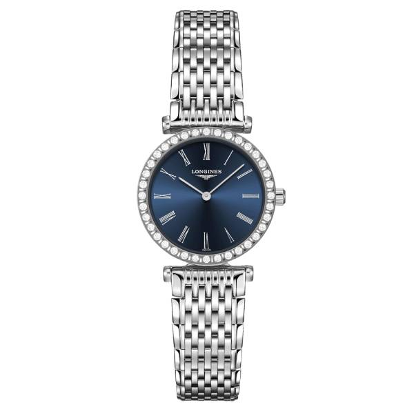 LONGINES Montre Longines La Grande Classique quartz cadran bleu lunette sertie bracelet acier 24 mm