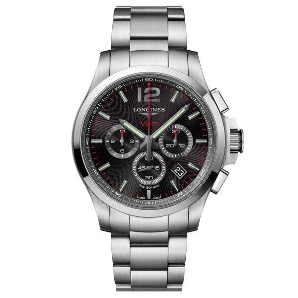 LONGINES Montre Longines Conquest VHP quartz chronographe cadran noir bracelet acier 44 mm