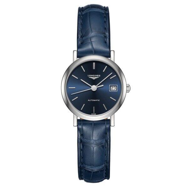 LONGINES Montre Longines Elegant Collection automatique cadran bleu bracelet cuir bleu 25,5 mm
