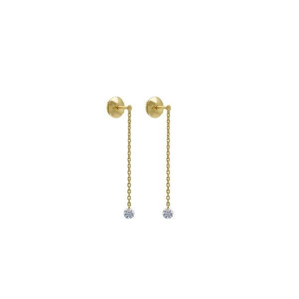 LA BRUNE ET LA BLONDE Pendants d'oreilles La Brune et La Blonde 360° en or jaune 2 diamants taille brillant 2 x 0,20 carat