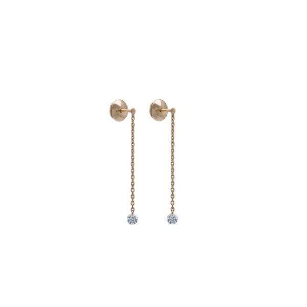 LA BRUNE ET LA BLONDE Pendants d'oreilles La Brune et La Blonde 360° en or rose 2 diamants taille brillant 2 x 0,20 carat