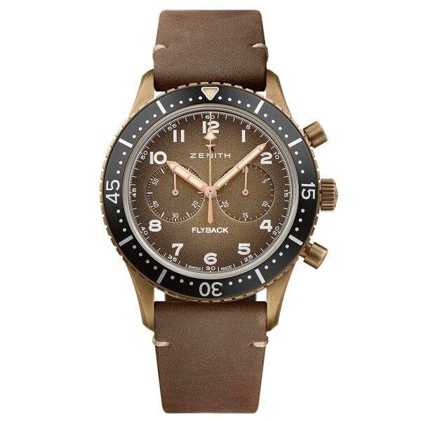 ZENITH Montre Zenith Pilot Cronometro Tipo CP-2 cadran bronze grainé bracelet nubuck brun 43 mm