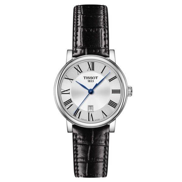 TISSOT Montre Tissot T-Classic Carson Premium Lady quartz cadran argenté chiffres romains bracelet cuir noir 30 mm