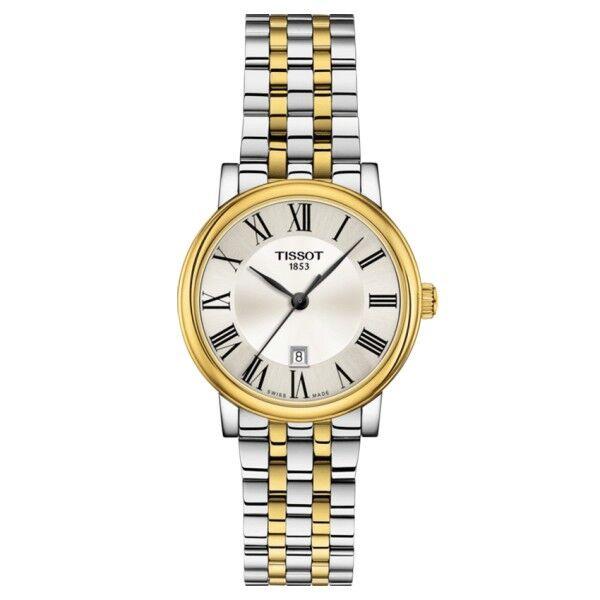 TISSOT Montre Tissot T-Classic Carson Premium Lady quartz cadran argenté chiffres romains bracelet acier bicolore 30 mm