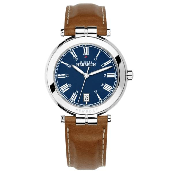 MICHEL HERBELIN Montre Michel Herbelin Newport Classics quartz cadran bleu chiffres romains bracelet cuir brun 39 mm