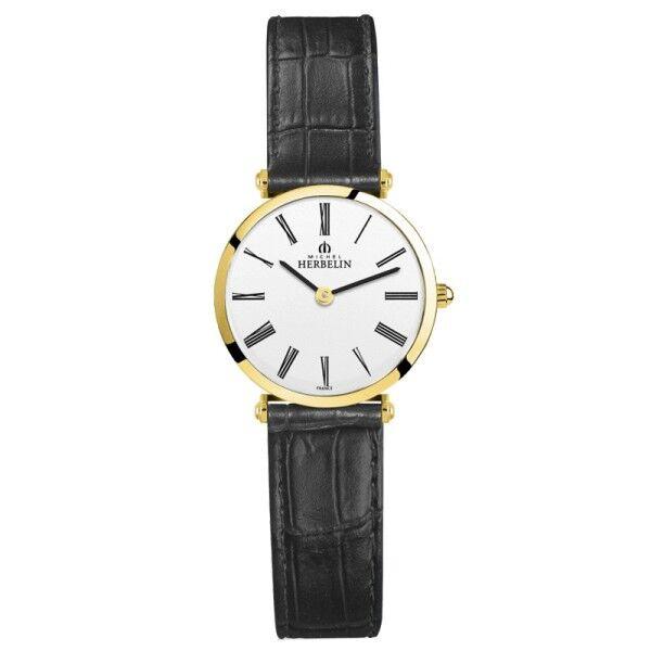 MICHEL HERBELIN Montre Michel Herbelin Epsilon quartz cadran blanc chiffres romains bracelet cuir noir 28 mm