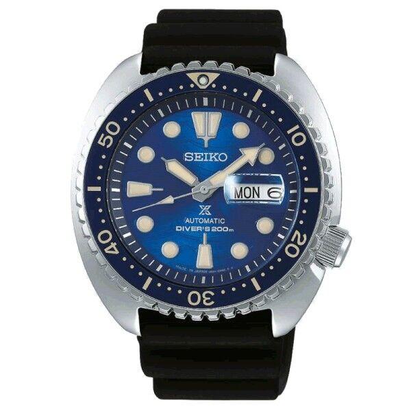 SEIKO Montre Seiko Prospex Edition spéciale Save The Ocean automatique cadran bleu bracelet silicone noir 45 mm