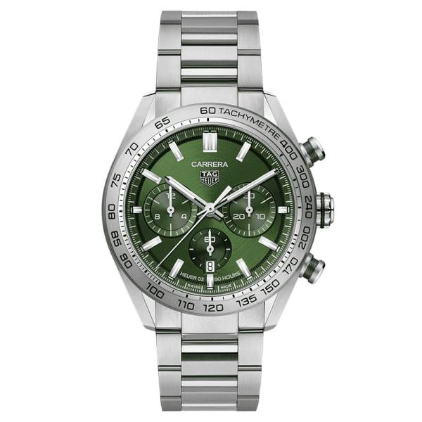 TAG HEUER Montre TAG Heuer Carrera Calibre Heuer 02 chronographe cadran vert bracelet acier 44 mm