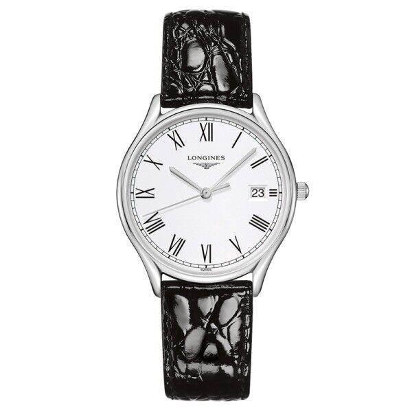 LONGINES Montre Longines Lyre quartz cadran blanc chiffres romains bracelet cuir noir 32 mm