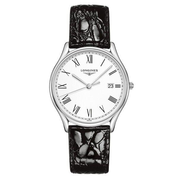 LONGINES Montre Longines Lyre quartz cadran blanc chiffres romains bracelet cuir noir 38,5 mm