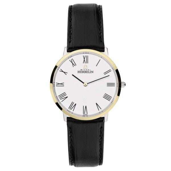 MICHEL HERBELIN Montre Michel Herbelin City quartz cadran blanc chiffres romains bracelet cuir noir 36 mm