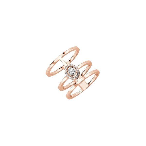 MESSIKA Bague Messika Glam'Azone 3 rangs en or rose et diamants