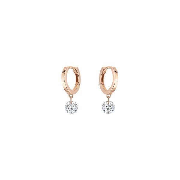 LA BRUNE ET LA BLONDE Mini créoles La Brune et La Blonde 360° en or rose 2 diamants taille brillant 2 x 0,20 carat