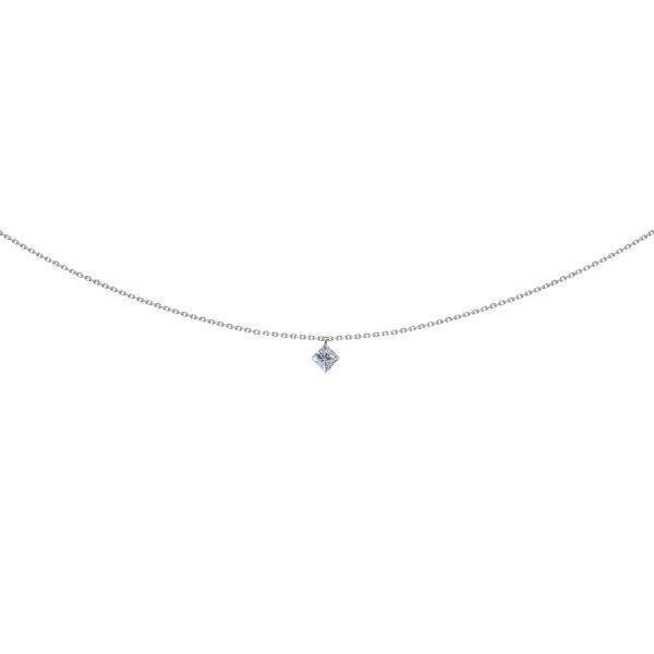 LA BRUNE ET LA BLONDE Pendentif La Brune et La Blonde 360° en or blanc diamant taille princesse 0,20 carat
