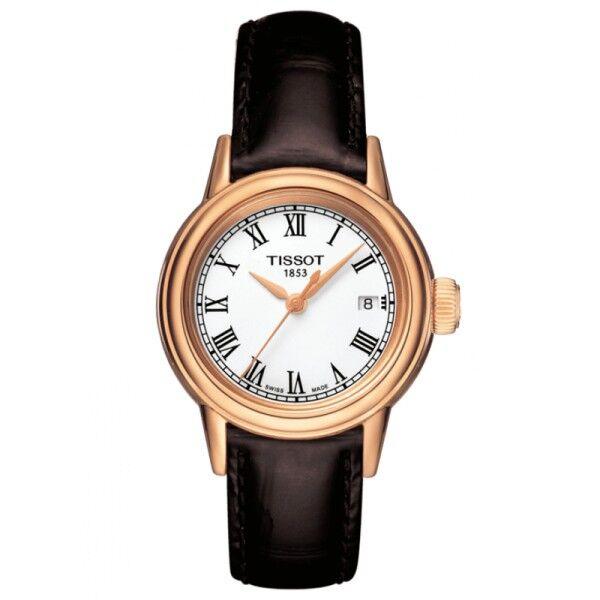 TISSOT Montre Tissot T-Classic Carson quartz cadran blanc chiffres romains bracelet cuir marron 30 mm
