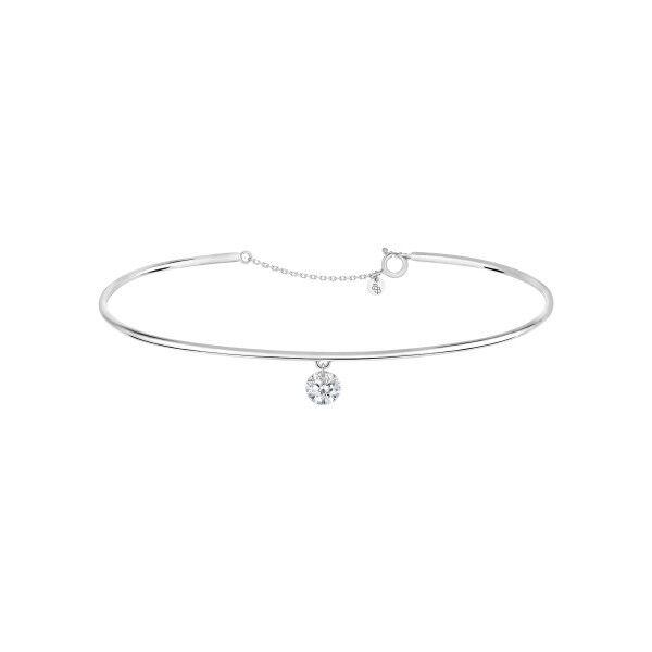LA BRUNE ET LA BLONDE Jonc La Brune et La Blonde 360° en or blanc diamant taille brillant 0,20 carat