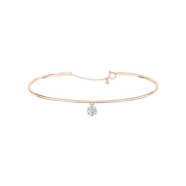 LA BRUNE ET LA BLONDE Jonc La Brune et La Blonde 360° en or rose diamant taille brillant 0,20 carat