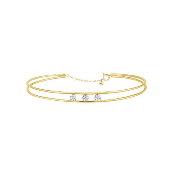 LA BRUNE ET LA BLONDE Jonc La Brune et La Blonde Hula Hoop en or jaune 3 diamants taille brillant 0,30 carat