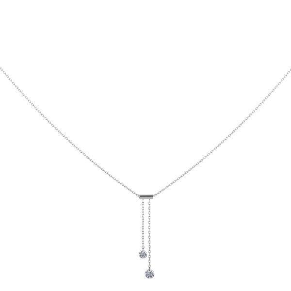 LA BRUNE ET LA BLONDE Collier Cravate La Brune et La Blonde 360° en or blanc 2 diamants taille brillant 0,20 carat