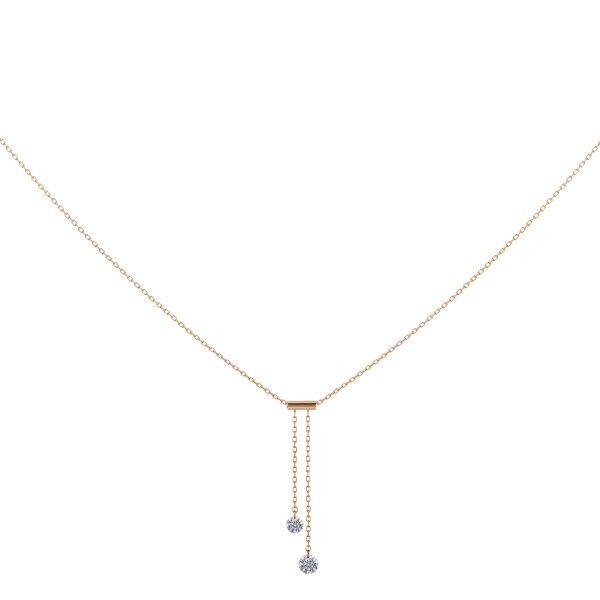 LA BRUNE ET LA BLONDE Collier Cravate La Brune et La Blonde 360° en or rose 2 diamants taille brillant 0,20 carat