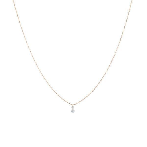 LA BRUNE ET LA BLONDE Collier La Brune et La Blonde 360° Duo en or rose 2 diamants taille brillant 0,20 carat