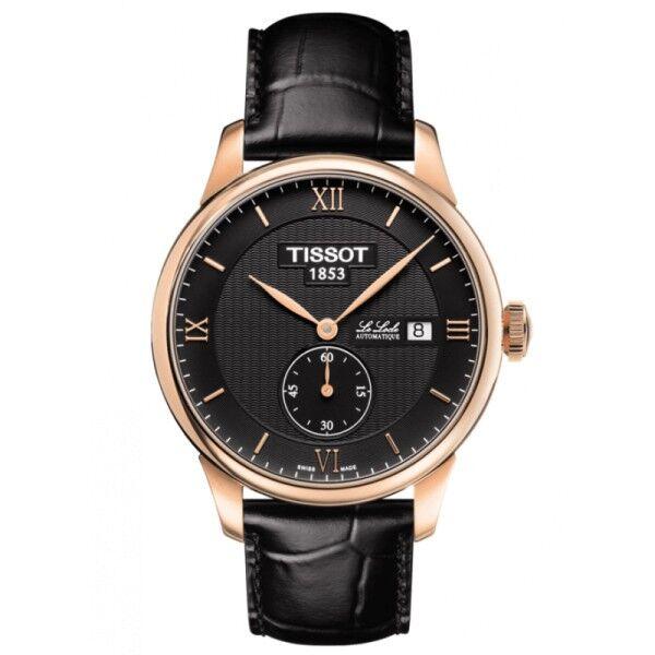 TISSOT Montre Tissot T-CLassic Le Locle automatique petite seconde acier PVD doré rose cadran noir bracelet cuir noir 39,3 mm