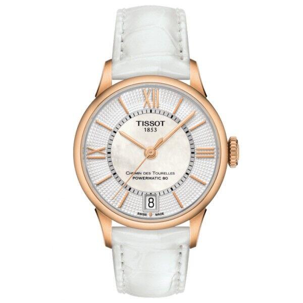 TISSOT Montre Tissot T-Classic Chemin Des Tourelles Powermatic 80 cadran nacre chiffres romains et index bracelet cuir blanc 32 mm