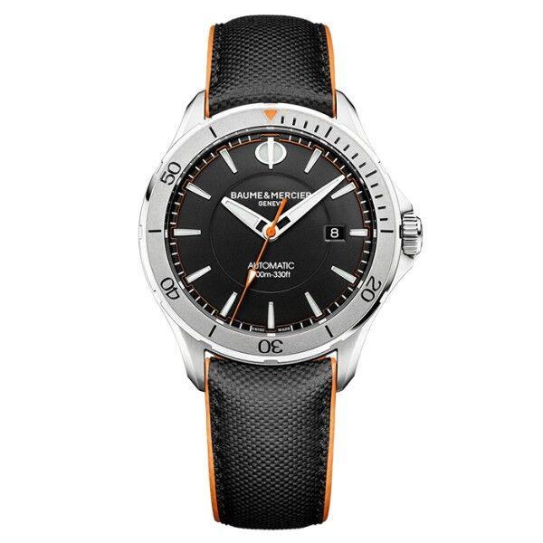 BAUME & MERCIER Montre Baume et Mercier Clifton Club automatique cadran noir bracelet veau toile de voile 42 mm