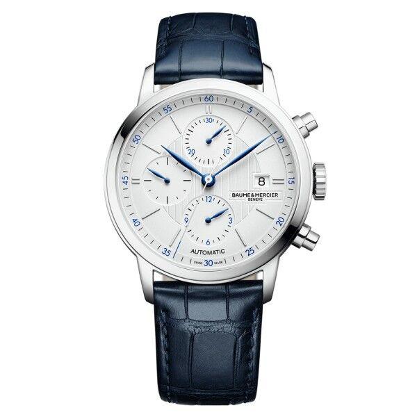 BAUME & MERCIER Montre Baume et Mercier Classima automatique chronographe cadran argenté bracelet cuir alligator bleu 42 mm