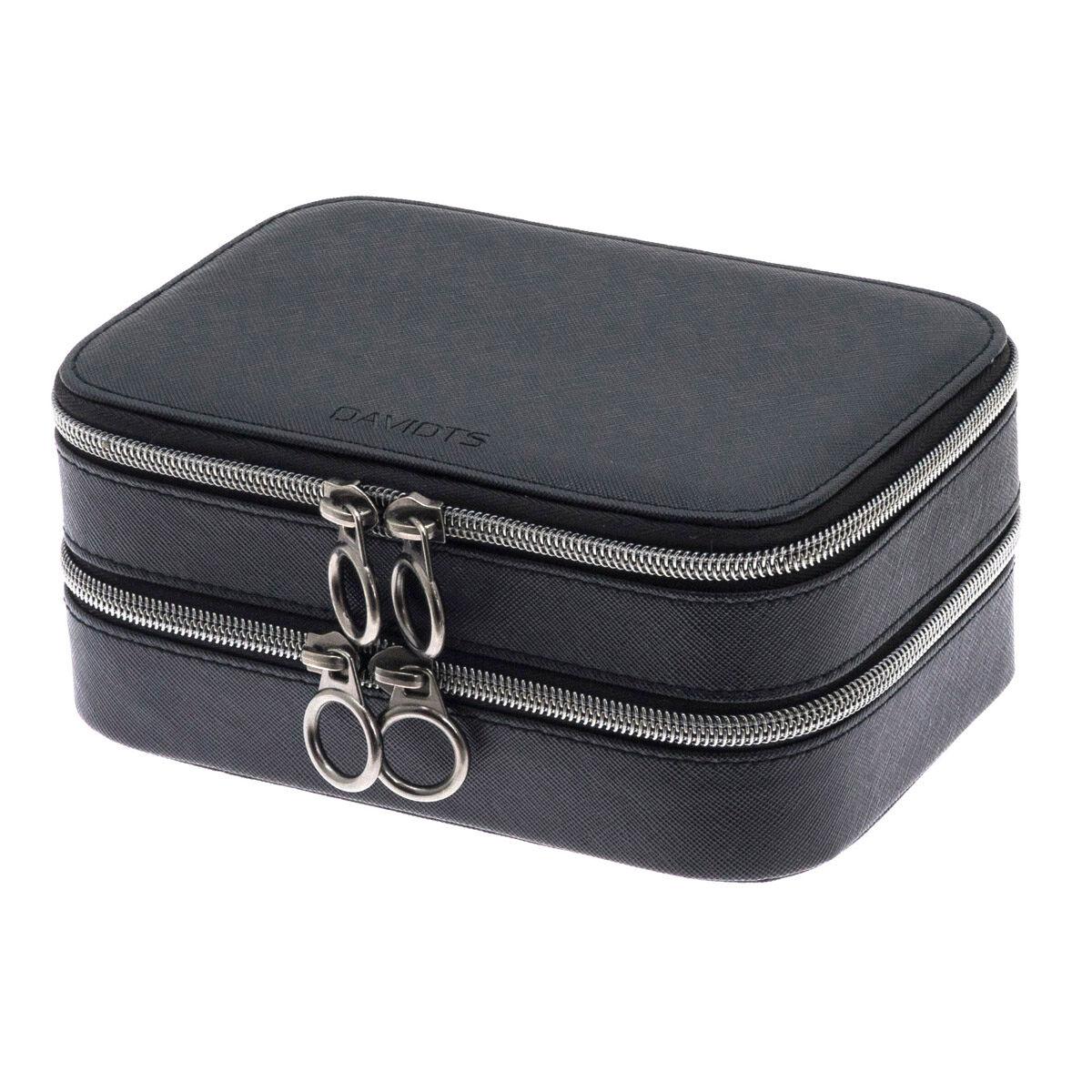 """Les Trésors de Lily Coffret à bijoux zippé """"Zip'n go"""" noir (2 compartiments) - 18x12x8 cm"""