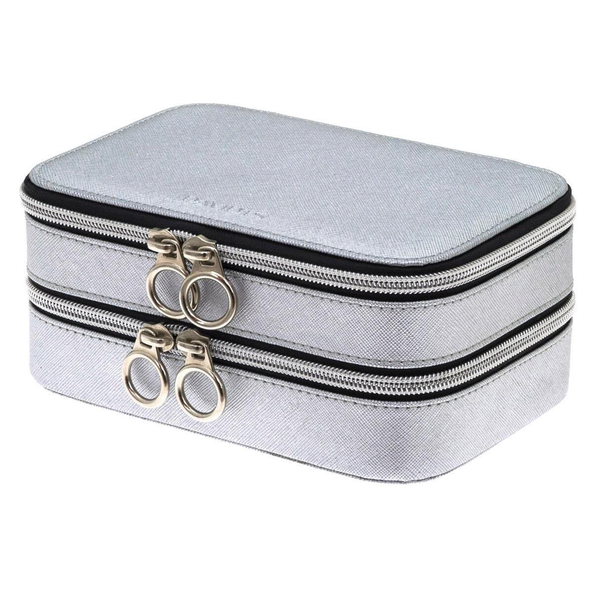 """Les Trésors de Lily Coffret à bijoux zippé """"Zip'n go"""" gris argenté (2 compartiments) - 18x12x8 cm"""