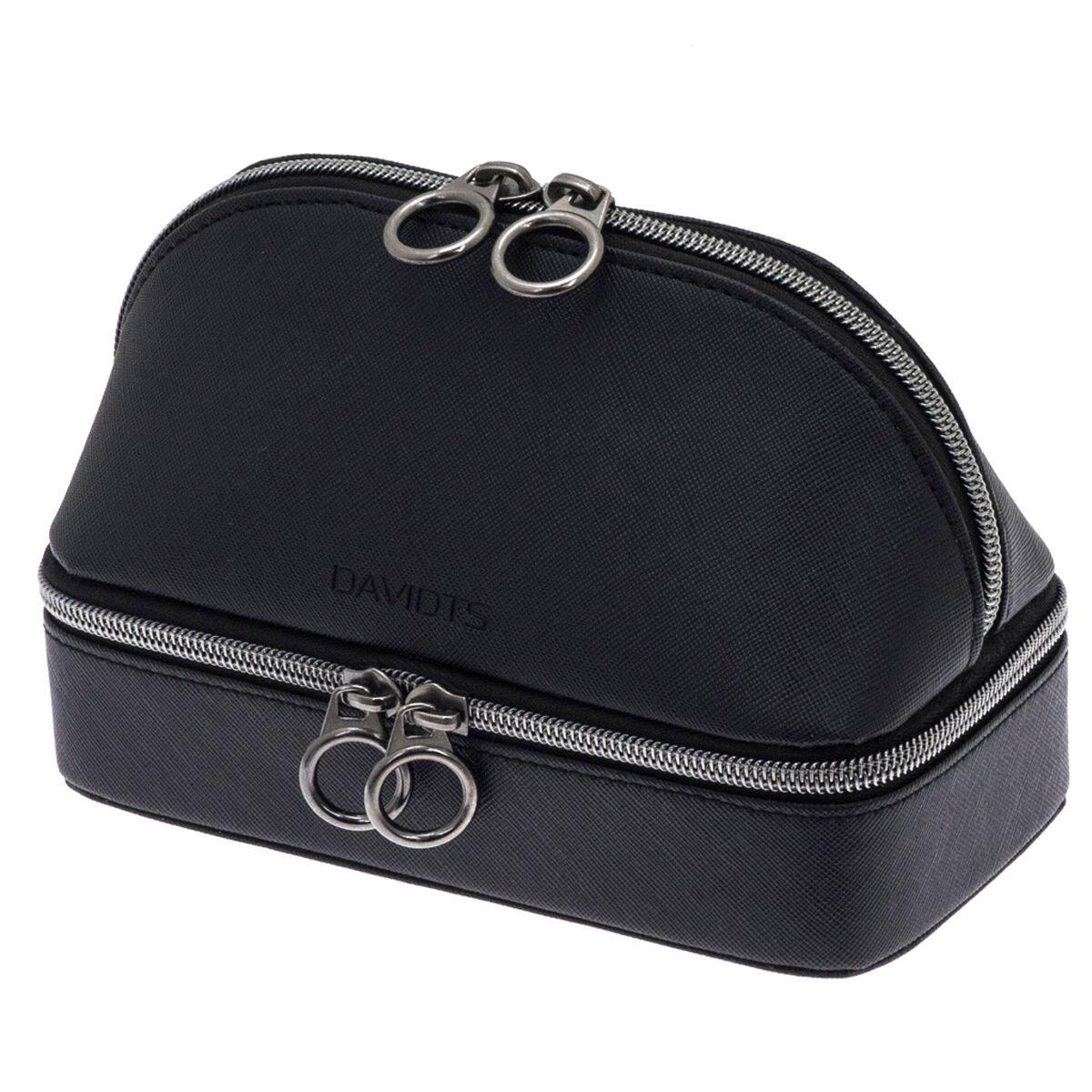 """Les Trésors de Lily Combiné coffret à bijoux et trousse de maquillage zippé """"Zip'n go"""" noir  - 19x14. 5x9. 5 cm"""