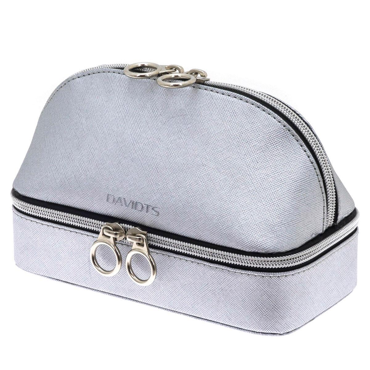 """Les Trésors de Lily Combiné coffret à bijoux et trousse de maquillage zippé """"Zip'n go"""" gris argenté - 19x14. 5x9. 5 cm"""