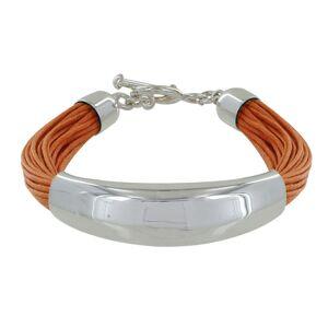 Les Poulettes Bijoux Bracelet Argent Demi-Jonc sur Fils de Coton - Classics - Orange