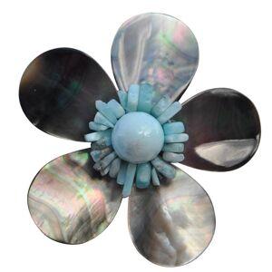 Les Poulettes Bijoux Broche Fleur en Nacre Grise Pépites et Perle de Larimar - Publicité
