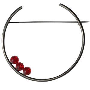 Les Poulettes Bijoux Broche Ruthénium Ronde et Trois Perles de Verre - Rouge - Publicité