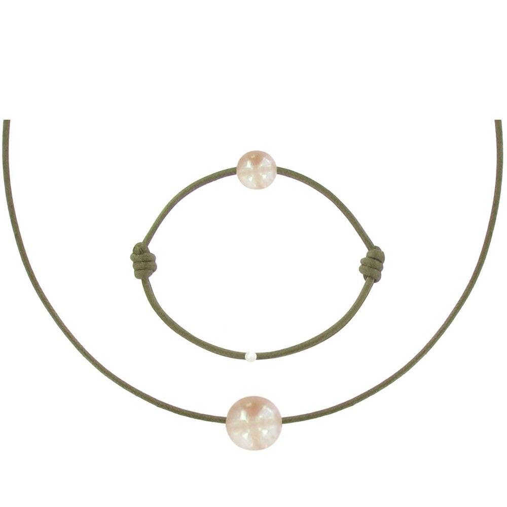 Les Poulettes Bijoux Set Collier et Bracelet Lien La Perle Rose des Poulettes - Classics - Vert kaki