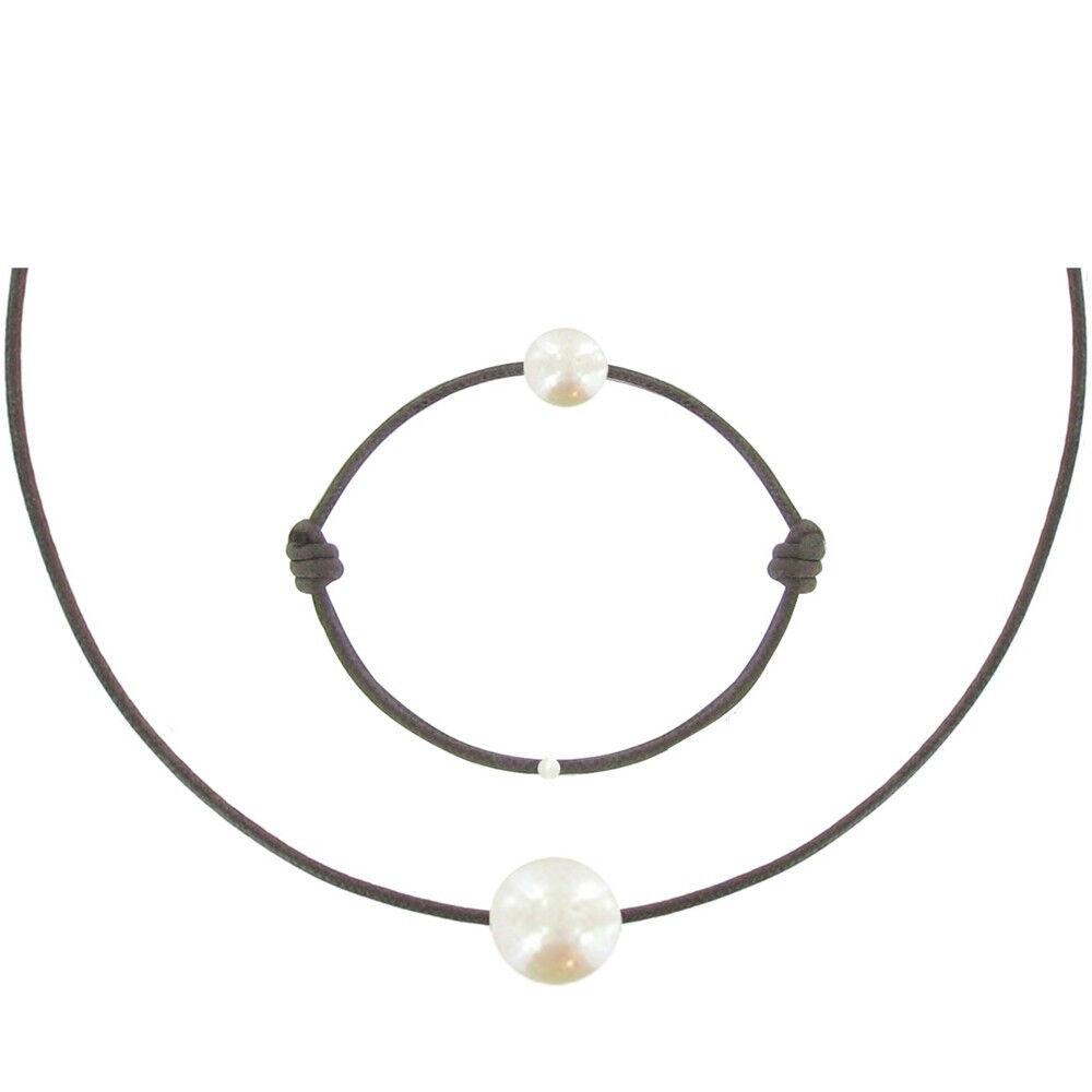 Les Poulettes Bijoux Set Collier et Bracelet Lien La Perle Blanche des Poulettes - Classics - Marron foncé