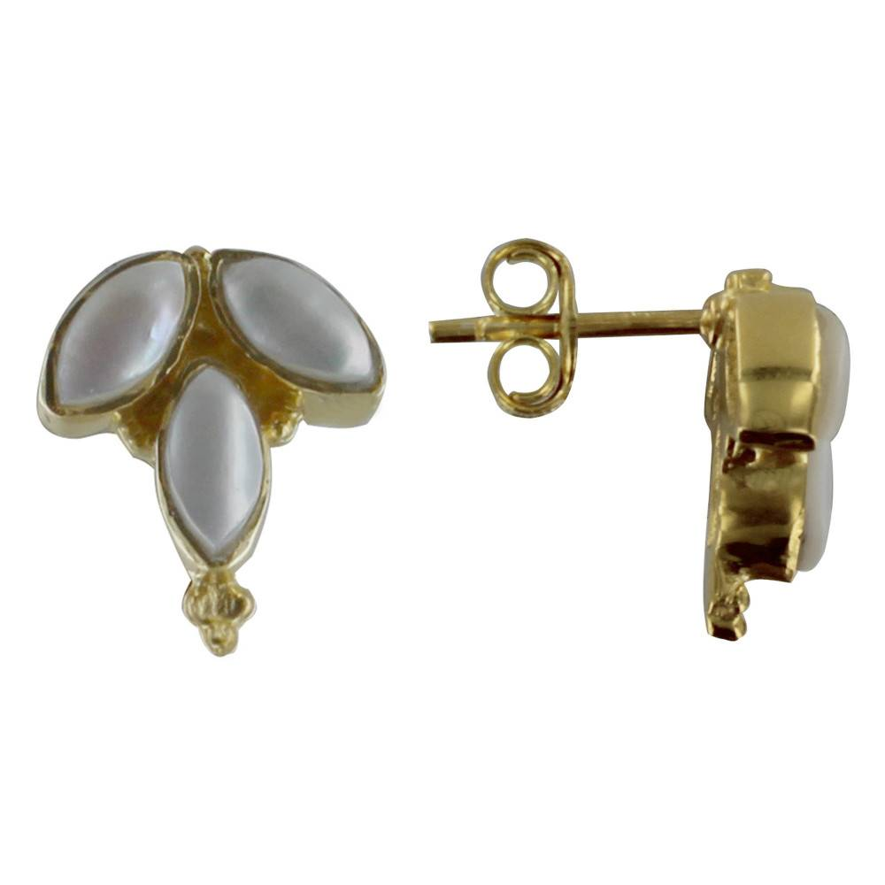 Les Poulettes Bijoux Boucles d'Oreilles Argent Doré Epi et Nacre