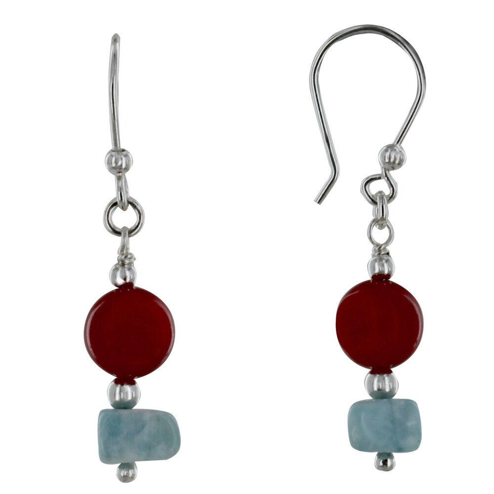Les Poulettes Bijoux Boucles d'Oreilles Argent Boutons Bambou Rouge et Pépites de Larimar