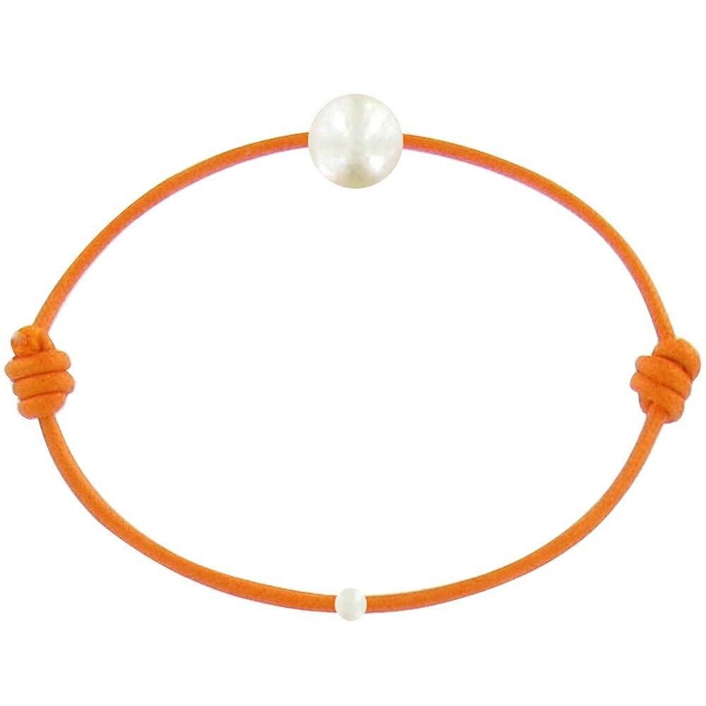 Les Poulettes Bijoux Bracelet Enfant La Perle Blanche des Petites Poulettes - Colors - Orange