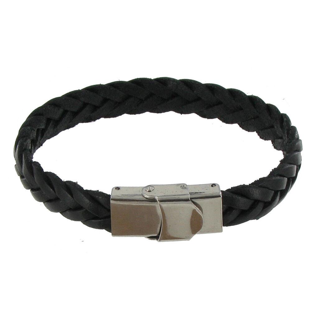 LES POULETTES BIJOUX Bracelet Enfant Cuir Noir Tréssé Plat Fermoir Acier Inoxydable