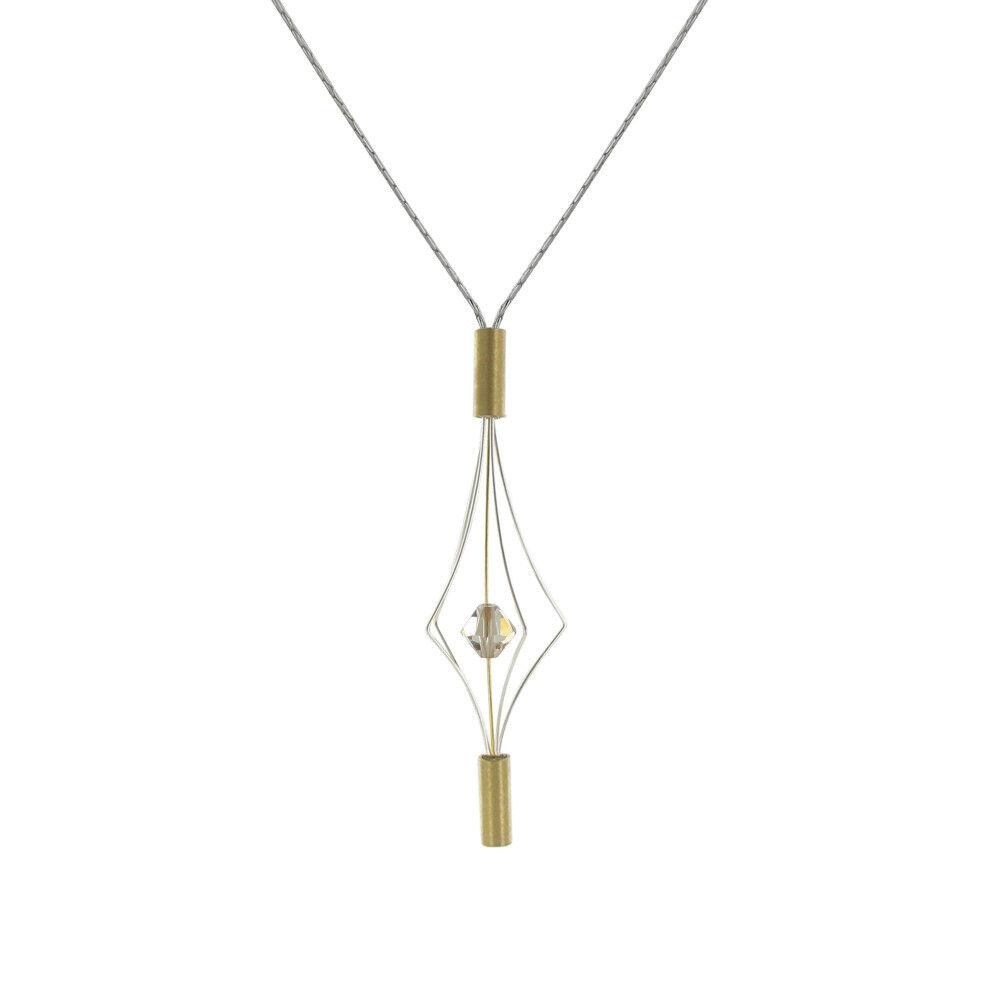 Les Poulettes Bijoux Collier Argent et Plaqué Or Lanterne et Swarovski - Petit Modèle - Beige