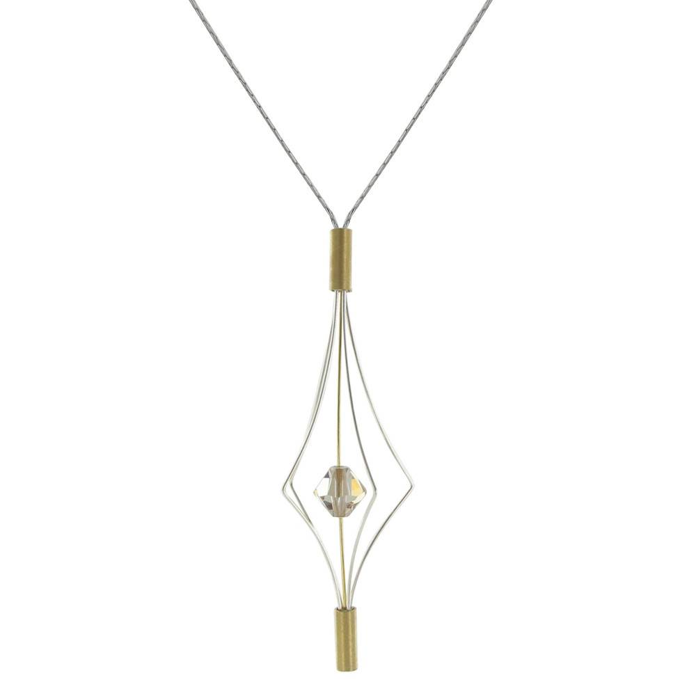 Les Poulettes Bijoux Collier Argent et Plaqué Or Lanterne et Swarovski - Grand Modèle - Beige