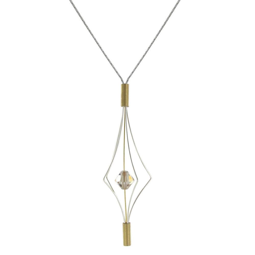Les Poulettes Bijoux Collier Argent et Plaqué Or Lanterne et Swarovski - Grand Modèle